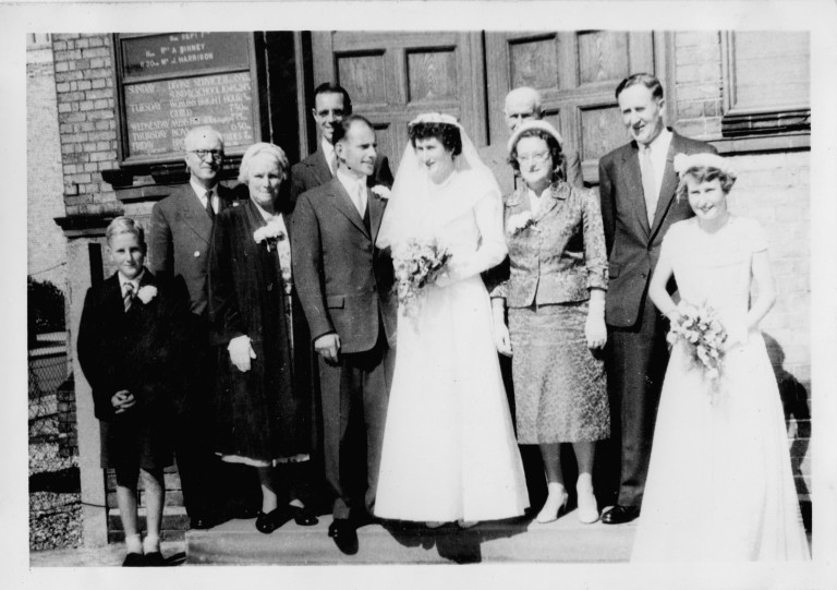Marion Ida Fakes wedding outside Romsey Methodist Church, 1958.