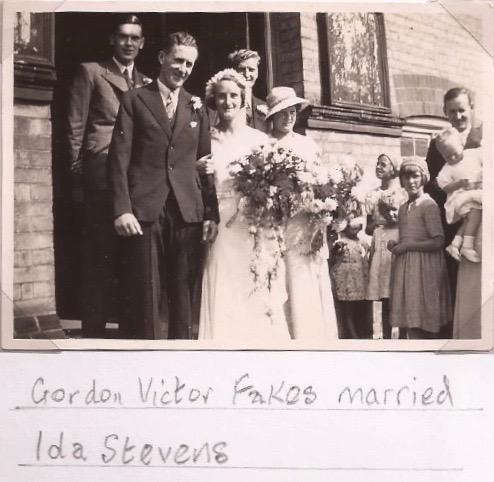Ida Stevens marrying Gordon Fakes at Romsey Town Methodist Church, 1934.