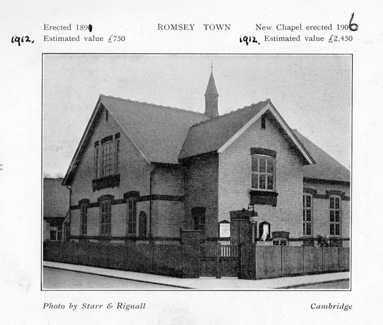 Old Photo of Romsey Methodist Church Mill Road. prior to 1956