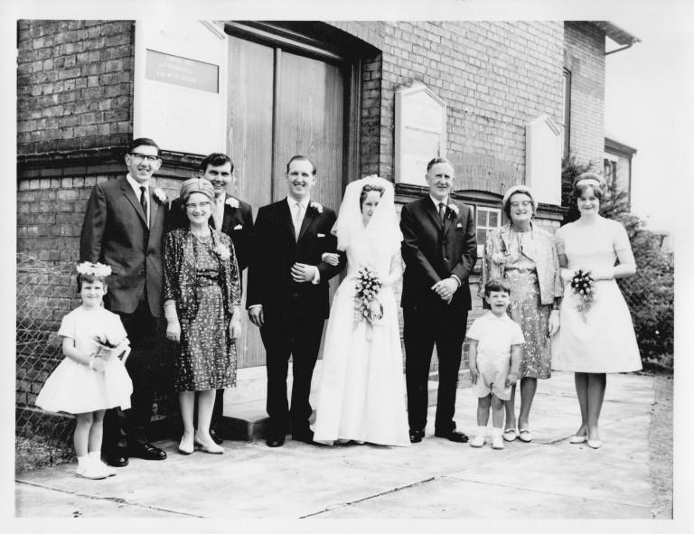 Marriage of Susan Fakes to David Nunn outside Romsey Methodist Church, 1965