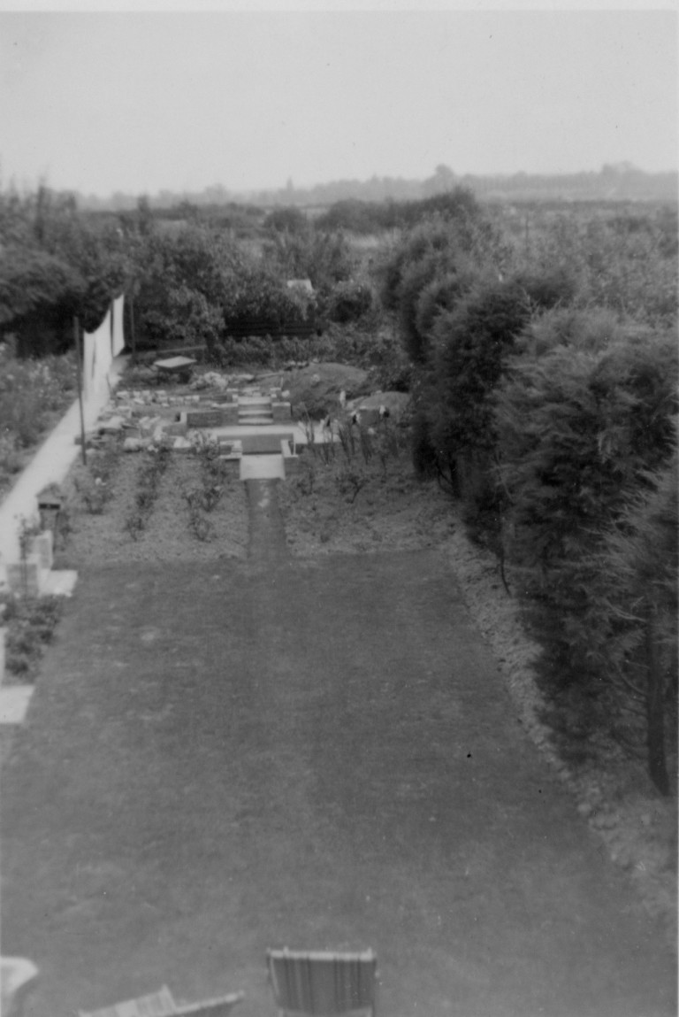 View of the garden at 58 Natal Road in the early 1950's with Burnside allotments in the distance.