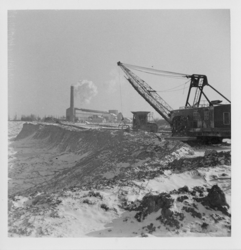 Cement works and digging out the chalk with snow on the ground. c. 1962